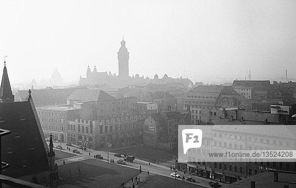 Blick über Leipzig  1955  Leipzig  Sachsen  DDR  Deutschland  Europa