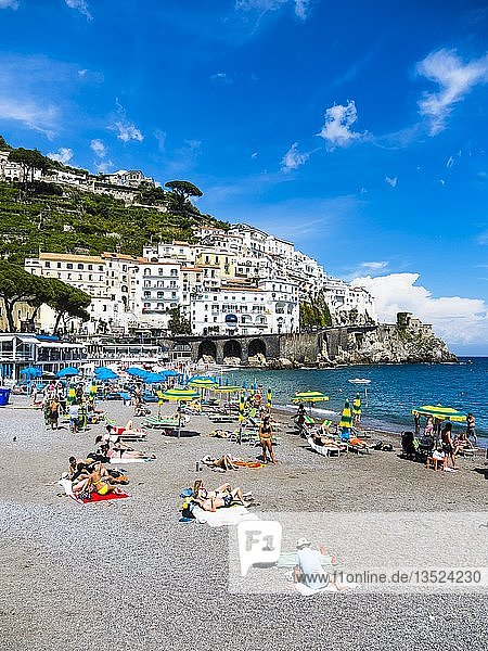 Old Town and Beach of Amalfi  Amalfi  Sorrento Peninsula  Amalfi Coast  Campania  Italy