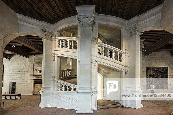 Doppelläufige Treppe von Leonardo da Vinci  Schloss Chambord  Nordfassade  bei Sonnenaufgang  UNESCO-Weltkulturerbe  Loire  Department Loire et Cher  Region Centre  Frankreich  Europa
