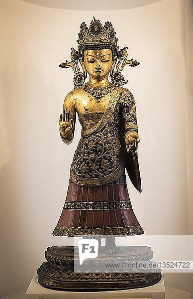 Antike Dipankar Buddha Statue  Patan-Museum  Patan  Kathmandu Tal  Himalaya Region  Nepal  Asien Antike Dipankar Buddha Statue, Patan-Museum, Patan, Kathmandu Tal, Himalaya Region, Nepal, Asien