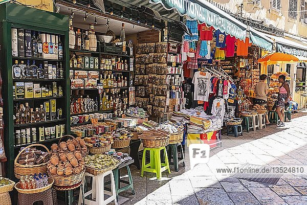 Geschäft mit Spezialitäten  Souvenirs  Altstadt  Kerkyra  Insel Korfu  Ionische Inseln  Griechenland  Europa