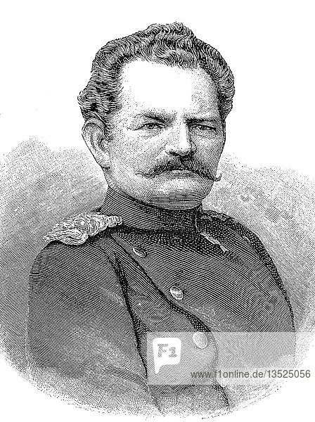 Karl Wilhelm Georg von Grolman,  1777-1843,  preußischer General,  Deutschland,  Portrait,  Holzschnitt,  1888,  Deutschland,  Europa