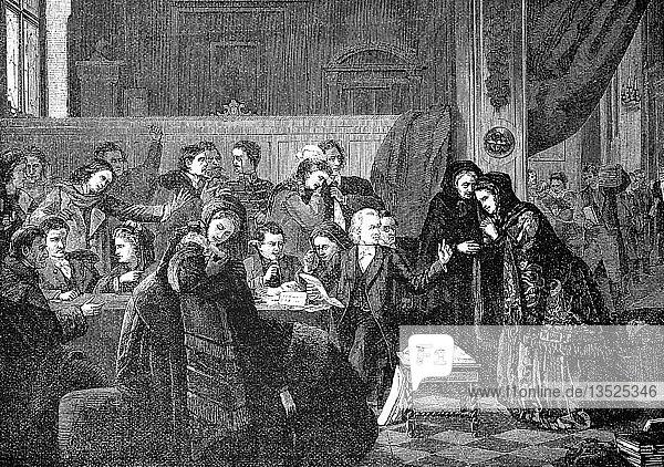 Die Familie hat den Notar getroffen und wartet auf die Verlesung des Testaments  1880  Holzschnitt  England