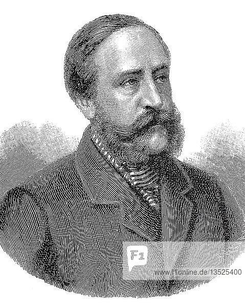 Porträt von Friedrich VIII.  Christian Frederik Vilhelm Carl  3. Juni 1843  14. Mai 1912  König von Dänemark  Holzschnitt  Dänemark  Europa