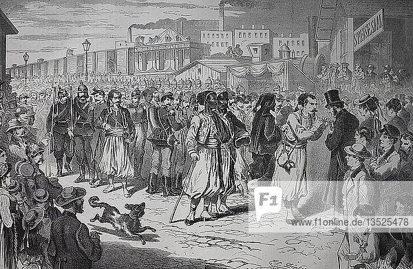 Ankunft der französischen Kriegsgefangenen auf dem Ostbahnhof in Berlin am 9. August  Deutsch-Französischer Krieg oder Deutsch-Französischer Krieg 1870/1871  Holzschnitt  Deutschland  Europa