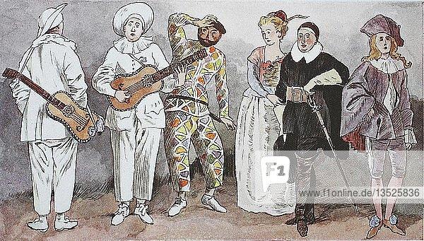 Mode  Kleidung  Kostüme in Frankreich  um 1715  Figuren eines italienischen Mitstreiters  Commedia dell arte  Illustration  Frankreich  Europa