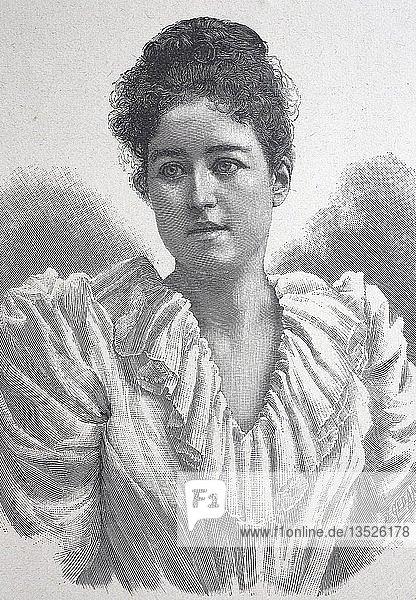 Gräfin Margarethe Bismarck  geborene Gräfin Hoyos  Holzschnitt  Portrait  1885  Deutschland  Europa