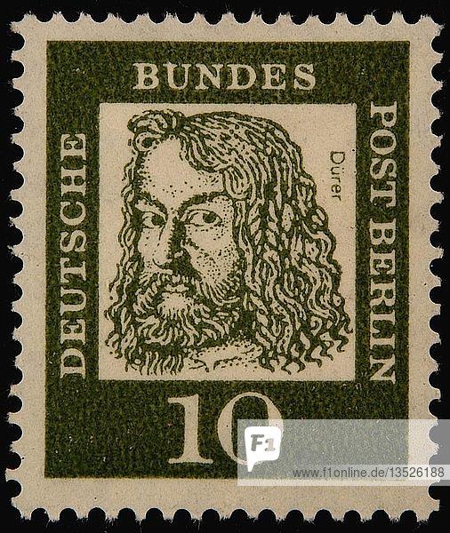Albrecht Dürer  ein deutscher Maler  Grafiker und Theoretiker der deutschen Renaissance  Porträt auf einer deutschen Briefmarke  Deutschland  Europa