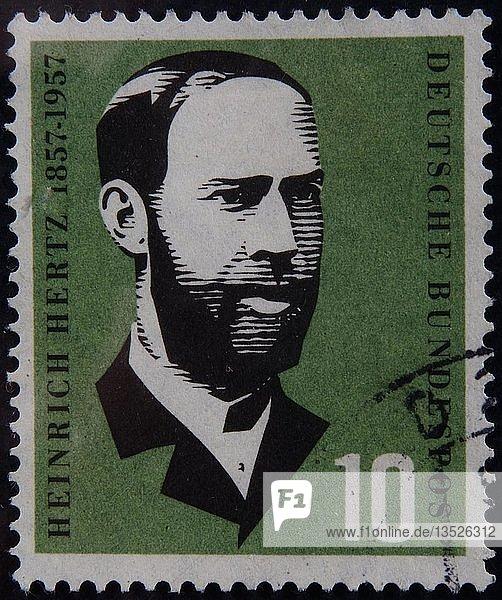 Heinrich Hertz  ein deutscher Physiker  Porträt auf einer deutschen Briefmarke  Deutschland  Europa