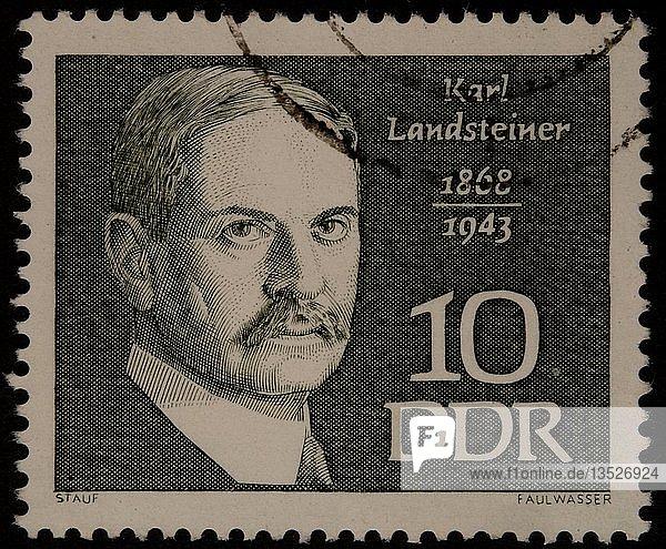 Karl Landsteiner  ein österreichischer Immunologe und Patholigist  Portrait auf einer DDR-Marke  Deutschland  Europa