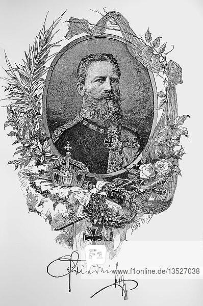 Portrait von Friedrich III.,  18. Oktober 1831,  15. Juni 1888,  ein deutscher Kaiser und König von Preußen für neunundneunzig Tage im Jahre 1888,  Holzschnitt aus dem Jahr 1888,  Deutschland,  Europa
