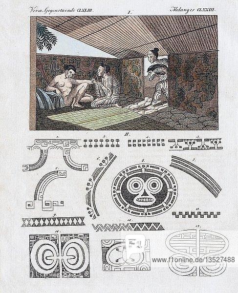Tätowierkunst auf Nuka Hiva  handkolorierter Kupferstich aus Friedrich Justin Bertuch Bilderbuch für Kinder  1813  Weimar  Deutschland  Europa
