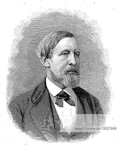 Adolph Kussmaul  Carl Philipp Adolf Konrad Kussmaul  22. Februar 1822  28. Mai 1902  war ein deutscher Arzt  Arzt und Professor  Holzschnitt aus dem Jahr 1888  Deutschland.