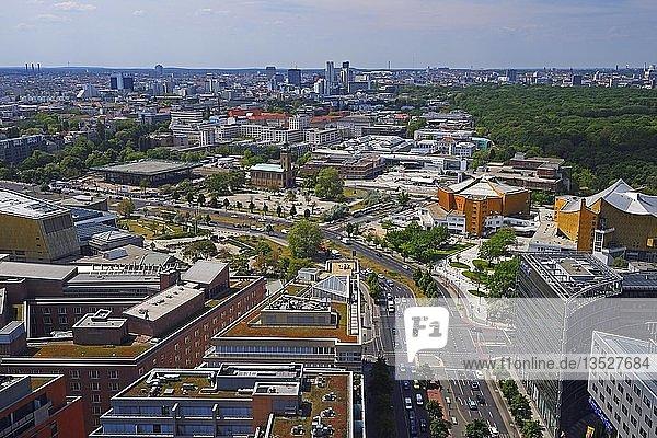 Blick über das Daimler Chrysler Areal am Potsdamer Platz  Berlin  Tiergarten  Deutschland  Europa