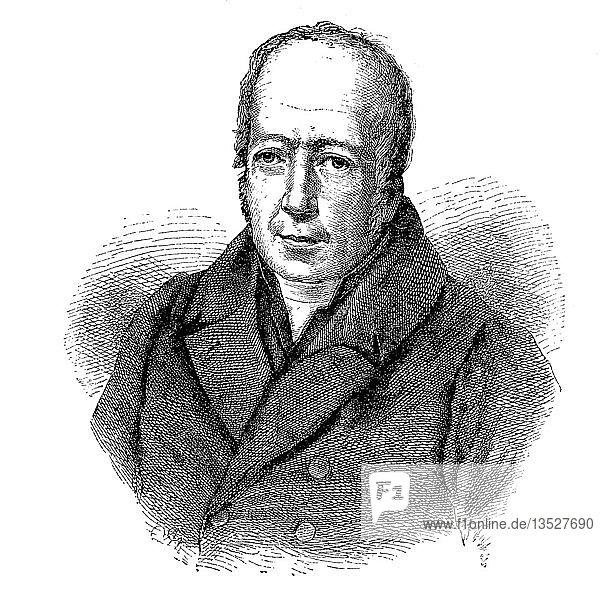 Portrait von Friedrich Wilhelm Christian Karl Ferdinand von Humboldt  1767-1835  preußischer Philosoph  Sprachwissenschaftler  Regierungsfunktionär  Diplomat und Gründer der Humboldt-Universität zu Berlin  Holzschnitt 1888  Deutschland  Europa