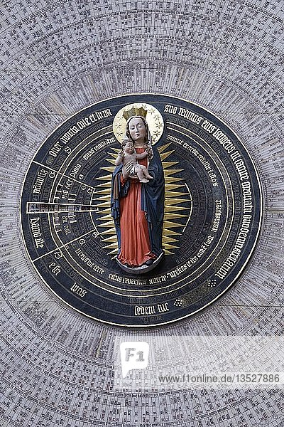 Marienkirche  Astronomische Uhr  Zifferblatt  Glowne Miasto  Gdansk  Pomerania  Polen  Europa