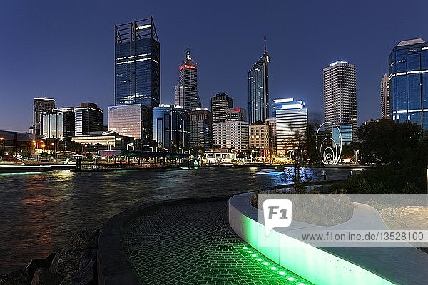 City Skyline at night  Elizabeth Quay  Perth  Western Australia  Australia  Oceania