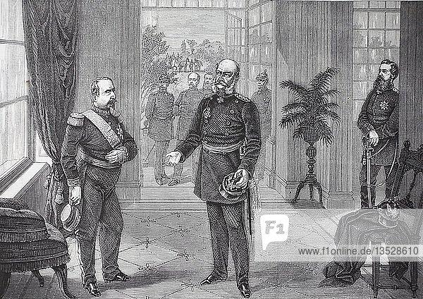 Gefangennahme Napoleons III. durch König Wilhelm im Schloss Bellevue in Sedan am 2. September 1870  Frankreich  deutsch-französische Kampagne von 1870/1871  Holzschnitt  Frankreich  Europa