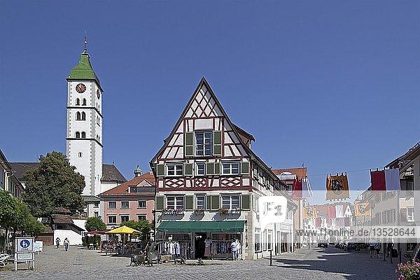 St.-Martins-Kirche  Altstadt  Wangen  Allgäu  Baden-Württemberg  Deutschland  Europa