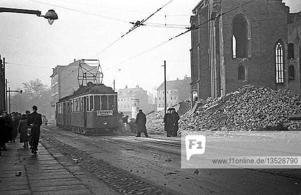 Straßenbahn nach Cannewitz  1954  Martin-Luther-Ring  Leipzig  Sachsen  DDR  Deutschland  Europa