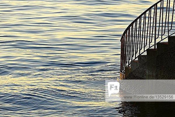 Stairway leading into Water  Lake Constance  Lindau  Swabia  Bavaria  Germany  Europe