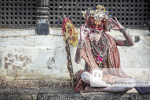 Sadhu  Asket  heiliger Mann  Pashupatinath  Kathmandu  Nepal  Asien Sadhu, Asket, heiliger Mann, Pashupatinath, Kathmandu, Nepal, Asien