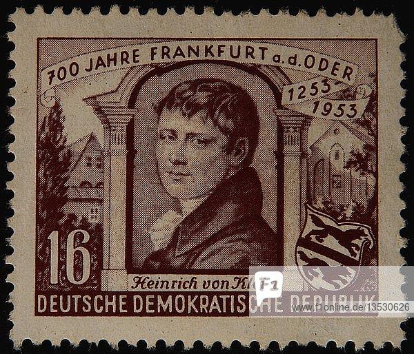 Heinrich von Kleist  deutscher Dichter  Dramatiker  Schriftsteller  Kurzgeschichtenschreiber und Journalist  Porträt auf einer DDR-Marke  Deutschland  Europa