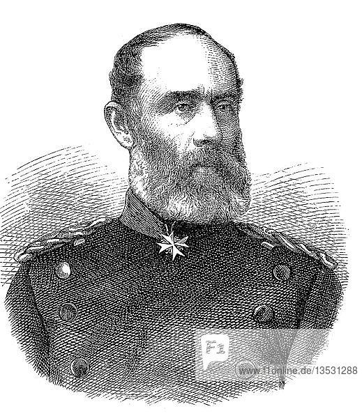 Friedrich Wilhelm Ludwig von Wittich  15. Oktober 1818  2. Oktober 1884  preußischer Generalleutnant und Mitglied des Reichstags  Holzschnitt  Portrait  Deutschland  Europa