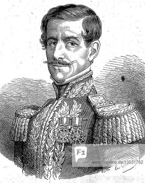 Ramon Castilla y Marquesado  1797  1867  dreimaliger Präsident von Peru  Holzschnitt  Peru  Südamerika