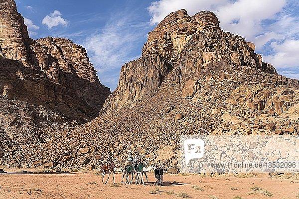 Kamele mit Touristen in der Wüste Wadi Rum  Jordanien  Asien