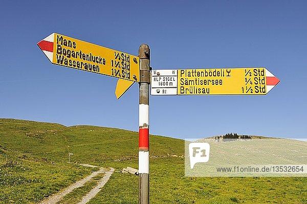 Wanderwegweiser auf dem Hochplateau Alpsigel in den Appenzeller Alpen  Kanton Appenzell-Innerrhoden  Schweiz  Europa