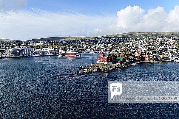 Boat harbor  Torshavn  Streymoy  Faroe Islands  Denmark  Europe
