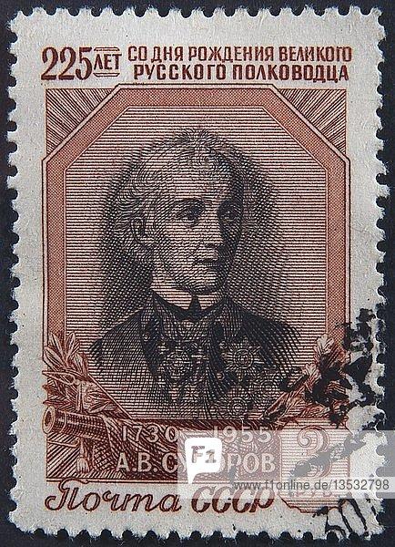 Alexander Suvorov  ein russischer Militärheld  Porträt auf einer russischen Briefmarke  Schweden  Europa