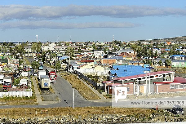 City view from the harbour  Golf Almante Montt  Puerto Natales  Province Última Esperanza  Chile  South America