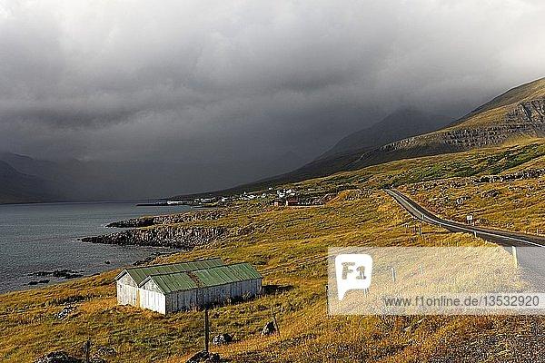 Village landscape  Stodvarfjorder  East-Iceland  Iceland  Europe