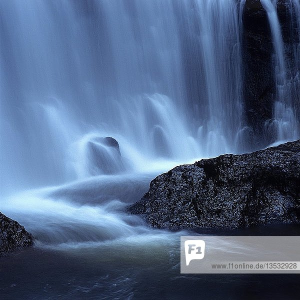 Blue waterfall  Massif of Sancy  Puy de Dome department  Auvergne Rhone Alpes  France  Europe