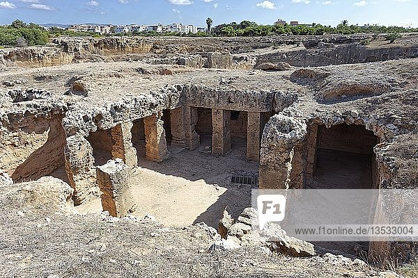 Archaeological excavation site  royal tombs of Nea Pafos  necropolis of Roman antiquity  Republic of Cyprus  Cyprus  Europe
