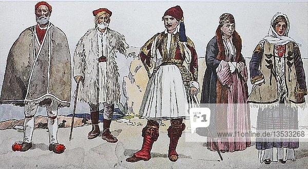 Mode  historische Kleidung  Volkstrachten in Griechenland um 1880  Illustration  Griechenland  Europa