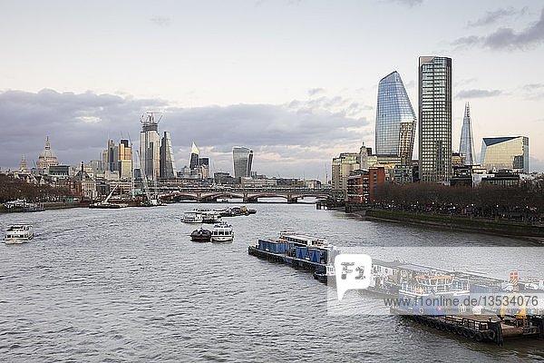 Panorama an der Themse  London City und Southwark  London  England  Großbritannien  Europa