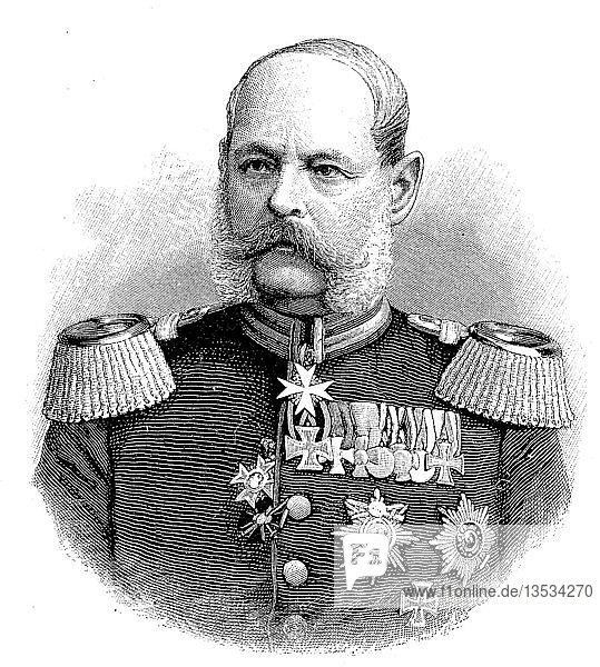 Alexander August Wilhelm von Pape  2. Februar 1813  7. Mai 1895  war ein Königlich Preußischer Infanterie-Generaloberst mit dem Sonderrang Generalfeldmarschall  Holzschnitt aus dem Jahre 1888.
