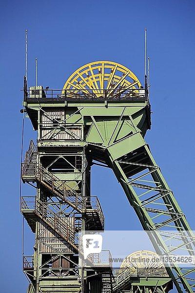 Fördergesrüste  Zeche Westfalen  stillgelegtes Steinkohlen Bergwerk  Ahlen  Muensterland  Nordrhein-Westfalen  Deutschland  Europa