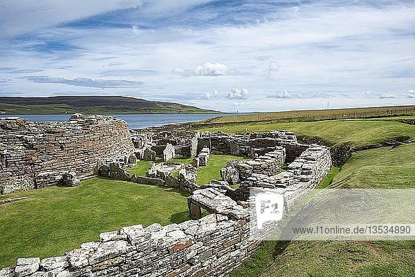 Ruinen einer Siedlung aus der Eisenzeit  Broch von Gurness  Tingwall  Orkney-Inseln  Schottland  Großbritannien  Europa