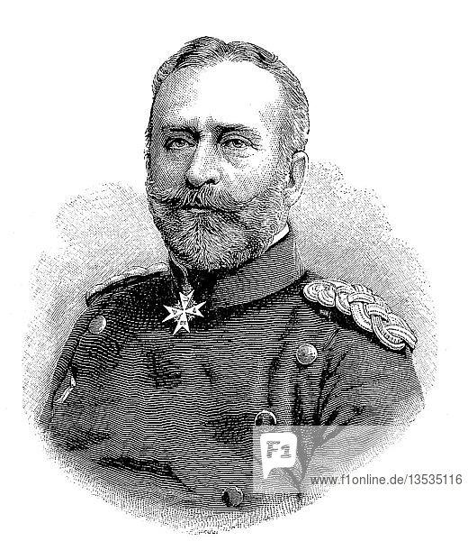 Ernst Engelbert Oskar Wilhelm von der Burg  24. April 1831  3. November 1910  preußischer General der Infanterie  Holzschnitt aus dem Jahre 1888  Deutschland  Europa