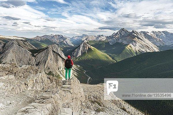 Wanderin blickt von Gipfel über Berglandschaft  Panoramablick  Sulphur Skyline Trail  Nikassin Range  Jasper National Park  British Columbia  Kanada  Nordamerika