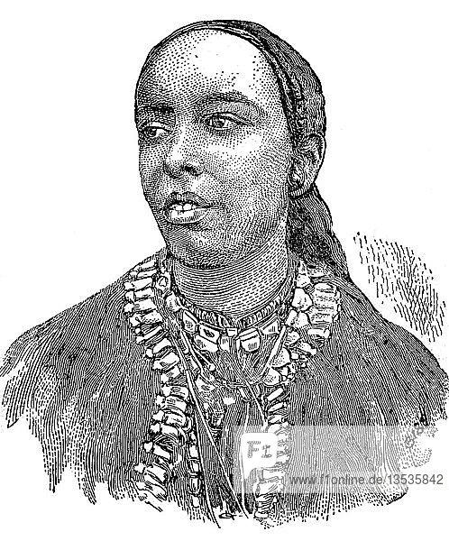 Taytu Betul  Frau von Menelik  Kaiser Menelik II GCB  1844  1913  Holzschnitt  Äthiopien  Afrika