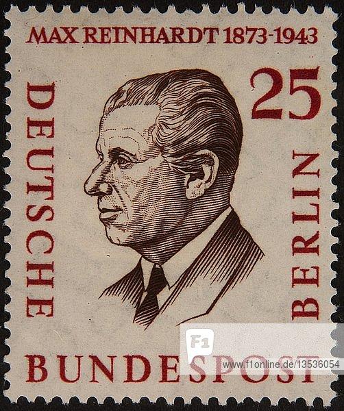 Max Reinhardt  ein österreichischer Theater- und Filmregisseur  Intendant und Theaterproduzent  Porträt auf einer deutschen Briefmarke  Deutschland  Europa