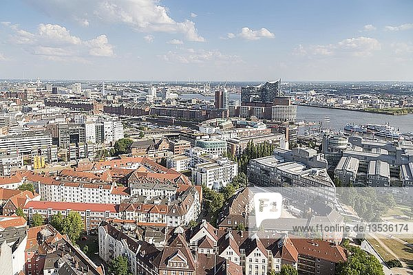 View over Hamburg with Elbe  Speicherstadt and Elbe Philharmonic Hall  Hamburg  Germany  Europe