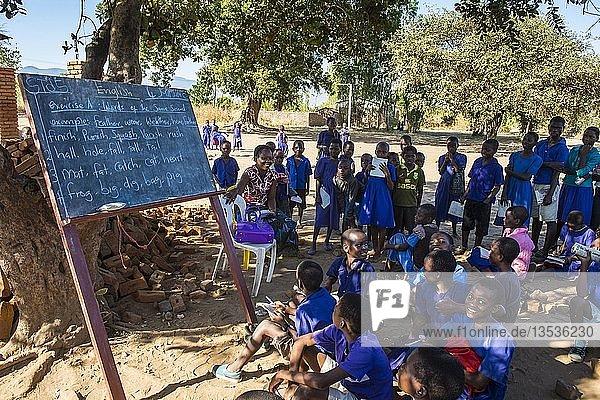 Grundschule im Freien mit vielen Kindern  Schüler in Schuluniform  Liwonde Nationalpark  Malawi  Afrika