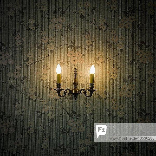 Altmodischer Wandleuchter  Lampe  Licht auf Tapete mit Blumenmuster  Frankreich  Europa