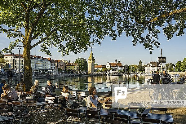 Beer garden at the harbor  Lindau  Lake Constance  Bavaria  Germany  Europe